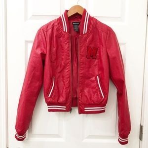 Wet seal red leather jacket. Size youth medium